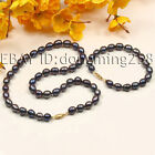 Fashion a set AA 8-9mm whte black oval fresh water pearl necklace bracelets s146