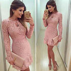 Elegant Women's Ladies Long Sleeve Lace Dress Evening Party Cocktail Dress Short