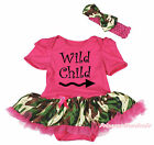 Wild Child Hot Pink Cotton Bodysuit Camouflage Girl Baby Dress Outfit Set NB-18M