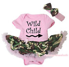 Wild Child Light Pink Cotton Bodysuit Camouflage Girls Baby Dress Outfit NB-18M