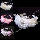 #HB6 Baby Infant Christening Baptism Church Birthday Party Hairbands Headbands