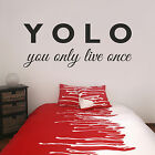 YOLO You Only Live Once Vinyl Wall Sticker Decal Teenagers Bedroom Living Room