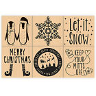 DOVECRAFT PRETTY CHRISTMAS STAMPS 3.5CM X 3.5CM GREAT FOR CRAFTS - 6 DESIGNS