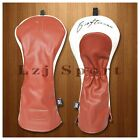 Brown White Golf Driver Fairway Hybrid Headcover Cover for Mizuno Adams Yamaha