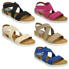 LADIES DOWN TO EARTH ELASTICATED STRAPPY CASUAL FLAT OPEN TOE SANDALS F10323