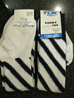 Twin City Knitting Over-Calf Footed Socks Candy Stripes White Navy R8CS Small
