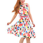 Women Boat Neck Sleeveless Vintage Swing Dresses Party Picnic Cocktail Dress