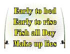 Custom Made T Shirt Early To Bed Rise Fish All Day Make Up Lies Fishing Pole
