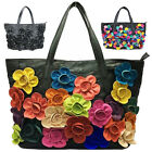 Floral Soft Lambskin Leather Women Tote Shoulder Bag Lady Shopping Purse Handbag