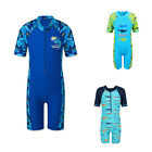 Boys Shark One-Piece Swim Swimsuit UPF50+ Short Sleeve Bathing Bathers 3-10Y New