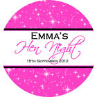 1x A4 sheet Personalised HEN NIGHT PARTY bags favours labels stickers sparkled