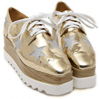 Womens Cute Star Wedge Platform High Heel Flat Lace Up Oxfords Casual Shoes
