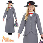 Girls Victorian Nanny Mary Costume Book Week Day Fancy Dress Outfit Ages 4-12