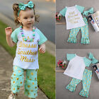 Cute Kids Baby Girls Outfits Clothes Tops T-shirt+Pants Headbhand 3pcs Set LXC