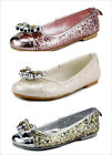 Girl's Glitter Dress Shoes with Top Rhinestone Bow Toddler, Little kids size