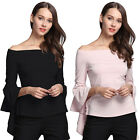 Sexy Women's Ladies Casual Off The Shoulder Tops Irregular Sleeve T-Shirt Blouse