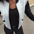 Women BOMBER JACKET COAT Baseball College Casual Sweater Outwear Sweatshirt New