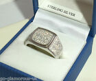 UK Made Men's Signet Ring 925 STERLING SILVER created Diamonds Sizes T - Z+2
