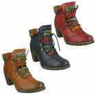 RIEKER 95323 CASUAL HIGH BLOCK HEEL LACE UP ROUND TOE WINTER CHUCKA ANKLE BOOTS