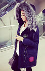 Womens Big Fur Collar Hooded Thicken Parka Loose Fashion Outerwear Overcoat D94