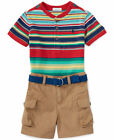 NWT Ralph Lauren Baby Boys Striped Henley Shirt, Cargo Shorts & Belt Set