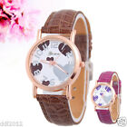 New Women Watches Crocodile Grain Leather Band Heart-shaped Quartz Wrist Watches