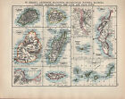 1902 MAP ~ ST HELENA ASCENSION MAURITUS MADAGASCAR CANARY ISLANDS CAPE TOWN