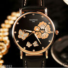 Fashion Women Watches Ladies Casual Flower Dial Leather Quartz Dress Wrist Watch