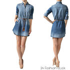 Women's 3/4 Roll up Sleeve Two Tone Braided Belted Denim Shirt Dress S M L