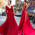 Red V Neck Beaded Backless Train Wedding Dresses Quinceanera Formal Pageant Gown