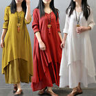 Women Casual Cotton Linen Long Sleeve A-line Shirt Loose V-neck Layer Long Dress