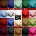 180 TC Fitted Sheet Percale Quality Non-Iron PolyCotton - Single, Double & King