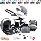 Baby Pram Stroller Pushchair 3in1 Car Seat Carrycot Travel System Buggy LED LAMP <br/> WHITE ECO LEATHER  FINISHING,FORWARD&amp;REAR FACING MODE