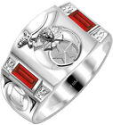 New 0.925 Sterling Silver Gold Shriner Customizable Freemason Solid Back Ring