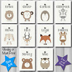 Cute Modern FOREST ANIMAL QUOTE Nursery Baby Christening Decor A4 Art Print