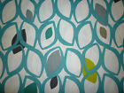 Round /SquareTablecloth Teal Funky Blue Grey Yellow/Green Retro Cotton Washable