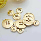 12pcs Gold Round 4-Holes Metal Buttons Embellishment  For Sewing Shirt Coat
