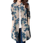 Women Stand Collar Long Sleeves Floral Prints Loose Tunic Shirt
