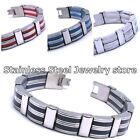 Mens Stainless Steel Bracelet Men Rubber Black Bracelet Gift Multi colour SR021