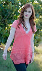 4 Love & Liberty Johnny Was Short Sleeve Crossover Top Coral Orange Small $130