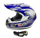 VIPER 3GO E66X BRAND NEW MOTOCROSS ACU OFF ROAD BLUE HELMET WITH BLACK GOGGLES
