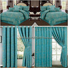 Jacquard, Luxury 7 Piece (TEAL) Comforter Set,Bedspread with matching Curtains