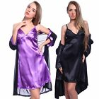 Sexy Black Satin Lace Pajamas Robe Sleepwear Lingerie Nightdress G-string