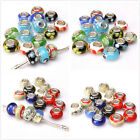 24pcs Mixed Color Printing Pattern Lampwork European Bead Fit Charms Bracelet BS
