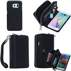 Top PU Detachable Zipper Wallet Card Case Cover for Samsung Galaxy S5 S6/S6 Edge