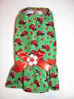Green with Ladybug and Hearts Dress Dog Puppy Teacup Pet Clothes XXXS - Large