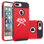For Apple iPhone 6 6s 7 Plus Dual Shockproof Hard Case Cover Firefighter Skull