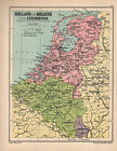 1934 MAP ~ HOLLAND & BELGIUM WITH LUXEMBURG ~ BRUSSELS AMSTERDAM