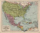 1928 MAP ~ UNITED STATES MEXICO CENTRAL AMERICA & WEST INDIES CUBA JAMICA