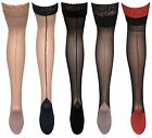 Womens Sexy Black Lace Top Coloured Cuban Heel Thigh High Seamed Hold Ups